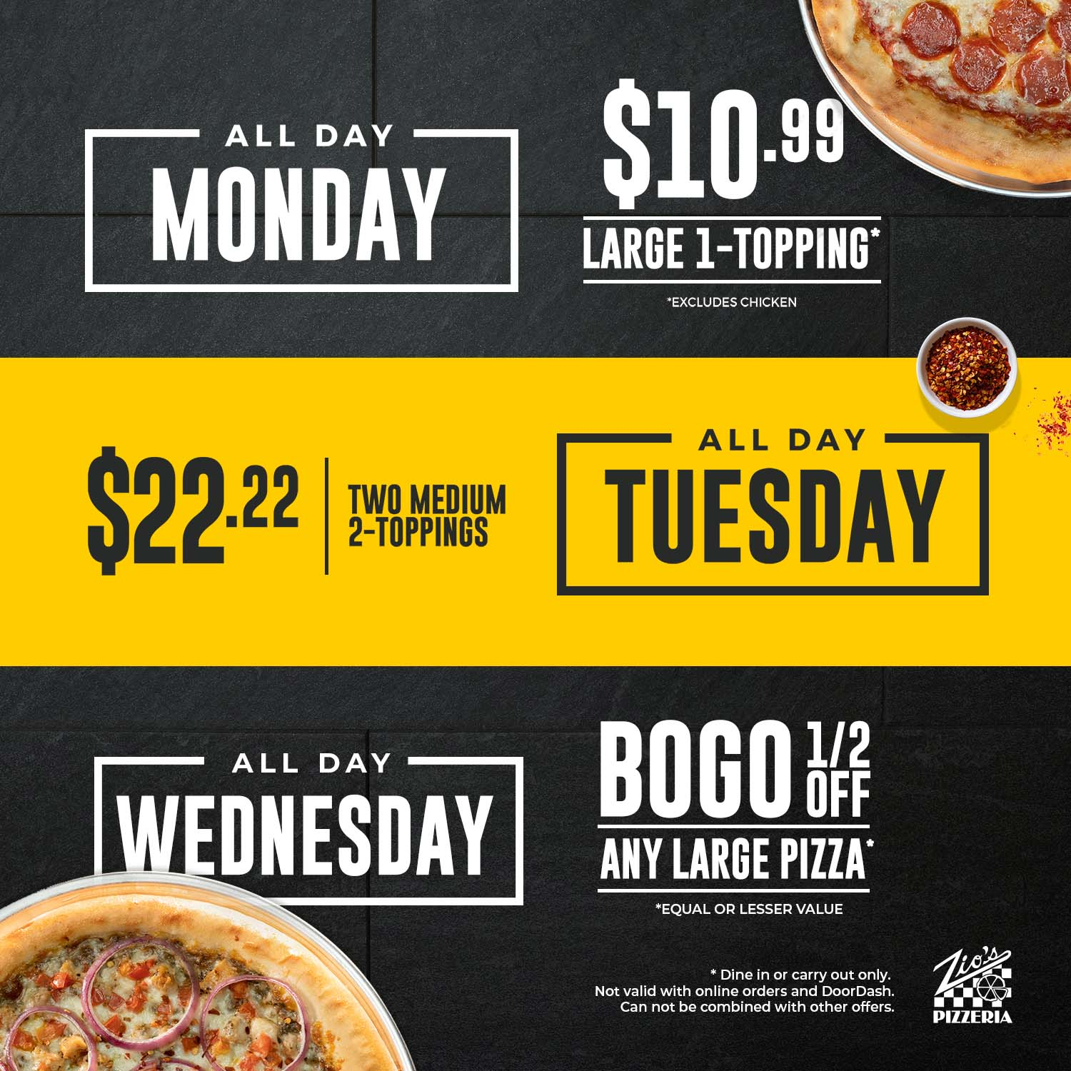Monday, Tuesday, Wednesday Deals